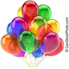 dekoráció, fél, születésnap, léggömb