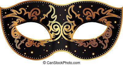 dekoráció, fekete, maszk, arany