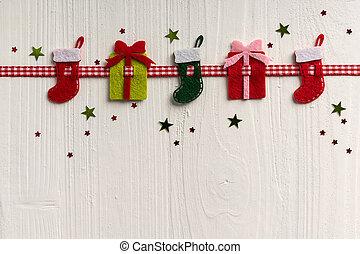 dekoráció, festett, falusias, háttér, boa, white christmas
