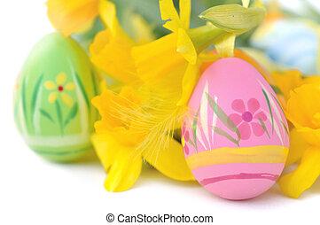 dekoráció, húsvét, háttér