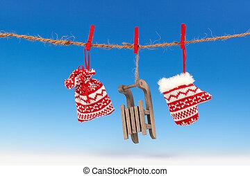 dekoráció, kék, felett, karácsony, háttér
