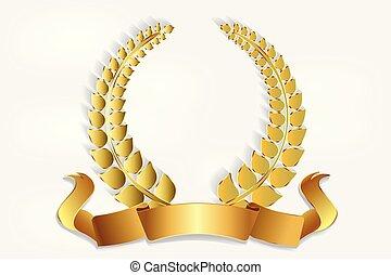 dekoráció, koszorú, jel, arany, borostyán