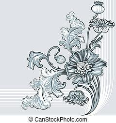 dekoráció, mák, virág