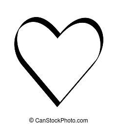 dekoráció, nap, szív, ünnep, icon., kedves, fekete