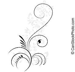 dekoratív, ábra, virágos, flourishes, örvénylik, vektor, elem