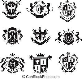 dekoratív, állhatatos, bőr, címertani, fegyver, emblémák, fekete