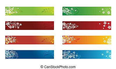 dekoratív, évszaki, határ, virágos