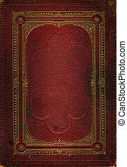 dekoratív, öreg, arany, megkorbácsol, keret, struktúra, piros