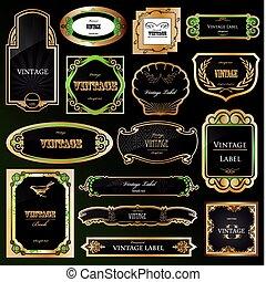 dekoratív, arany-, állhatatos, labels., vektor, fekete, keret