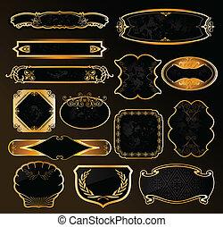 dekoratív, arany-, elnevezés, fekete, vektor