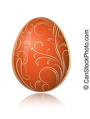 dekoratív, arany-, illustration., húsvét, fényes, vektor, virágos, branch., tojás, piros