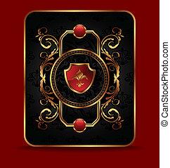 dekoratív, arany-, keret, választékos