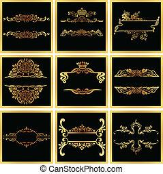 dekoratív, arany-, vektor, választékos, keret, quad