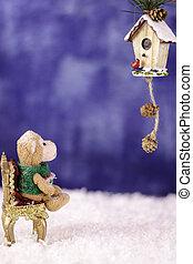 dekoratív, birdhouse., majom, látszó, szék, plüss