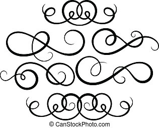 dekoratív, elements., calligraphic