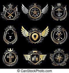 dekoratív, elkészített, középkori, keresztbe tesz, szüret, címertani, királyi gyűjtés, ábra, jelkép, emblémák, kidomborít, állat, fegyvergyár, vallásos, style., castles.