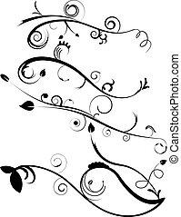 dekoratív, flourishes, állhatatos, 4