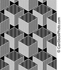 dekoratív, grafikus, háromkiterjedésű, díszítés, elvont, pattern., kortárs, háttér, feljön, vektor, cubes., körülfon, vég nélküli