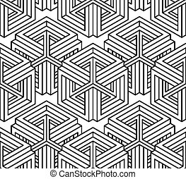 dekoratív, grafikus, háromkiterjedésű, elvont, ornament., pattern., kortárs, háttér, feljön, vektor, körülfon, vég nélküli