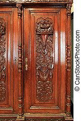 dekoratív, hajdani, rajz, beépített szekrény