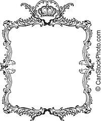 dekoratív, illustration., szüret, vektor, választékos, frame.