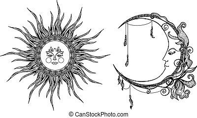 dekoratív, nap, hold