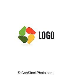 dekoratív, rendkívüli, illustration., színes, logotype., cégtábla., fehér, fa, elszigetelt, elvont, kereszt, ősz, háttér., vektor, jel, icon., zöld, element.