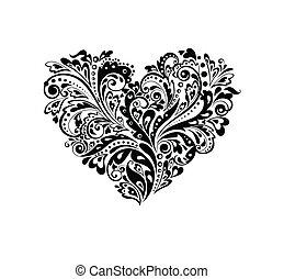 dekoratív, szív alakzat, nyugat, (black
