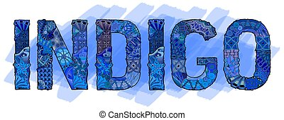 dekoratív, szó, cél, indigo., dekoráció, vektor, zentangle