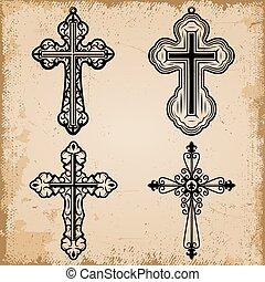 dekoratív, szüret, állhatatos, vallásos, keresztbe tesz