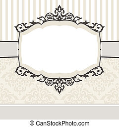 dekoratív, szüret, keret