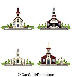 dekoratív, templom, állhatatos, ikon, lakás