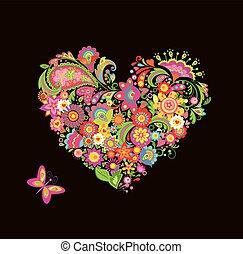 dekoratív, virágos, alakít, szív