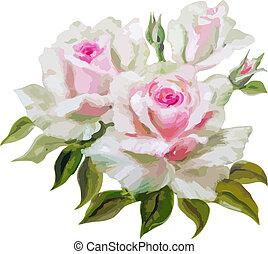 dekoratív, virágos, háttér