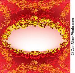 dekoratív, virágos, keret, piros