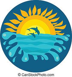 delfinek, napos, két, háttér, óceán