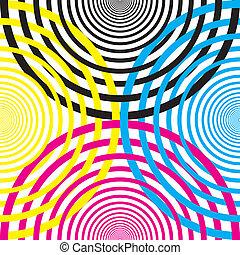 demicircles, sárga, cmyk, más, fekete, mindegyik, mage3nta, keresztező, cián