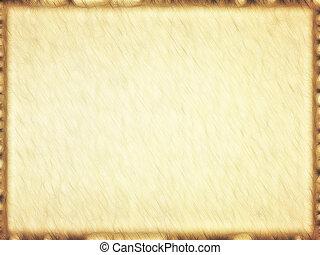 derékszögű, üres, öreg, papirusz, barna, border.