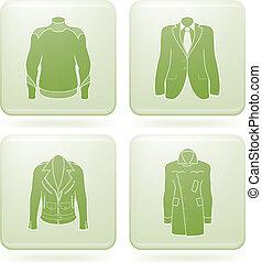 derékszögben, öltözet, 2, set:, olivine, ikonok, bábu