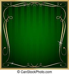 derékszögben, arany, tiszta, vektor, zöld háttér, választékos, csíkos