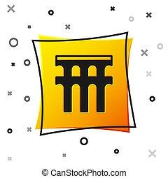 derékszögben, fekete, spanyolország, roman aqueduct, vektor, segovia, épület., nemzeti icon, elszigetelt, sárga, button., jelkép, spain., fehér, háttér.