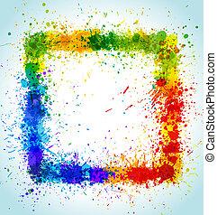 derékszögben, festék, szín, keret, gradiens, háttér., vektor, loccsan