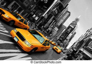 derékszögben, indítvány, taxi, elhomályosít, város, időmegállapítás, york, összpontosít, új