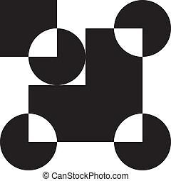 derékszögben, intersected, elem, 4, háttér, karika