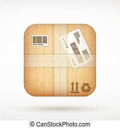 derékszögben, kerek, csomag, app, felad, sarok, kartonpapír, ikon