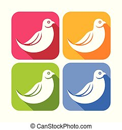 derékszögben, kerek, ikonok, szín, elvont, galamb, madár