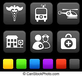 derékszögben, orvosi, gombok, ikonok, internet