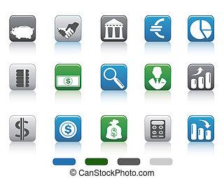 derékszögben, pénzel, ikonok, egyszerű, gombol, bankügylet, állhatatos
