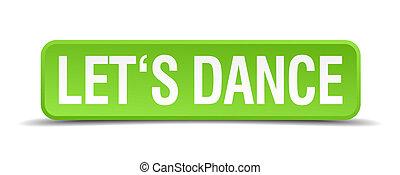 derékszögben táncol, gombol, elszigetelt, gyakorlatias, lets, zöld, 3