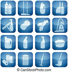 derékszögben, takarítás, 2, set:, kobalt, ikonok